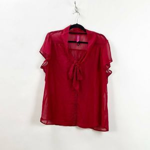 Pure Energy Red Sheer Secretary Bow Blouse